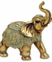 Olifant dieren beeldje goud 16 cm woondecoratie trend