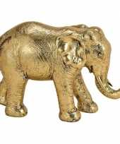 Olifant dieren beeldje goud 18 cm woondecoratie trend