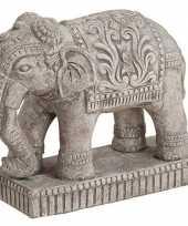 Olifant dieren beeldje grijs 27 cm woondecoratie trend
