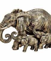 Olifanten dieren beeldje goud 13 cm woondecoratie trend