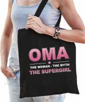 Oma the supergirl cadeau tas zwart voor dames trend