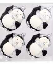 Onbreekbare pinguin kerstballen zwart 4 stuks trend