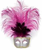 Oogmasker roze met verentooi trend