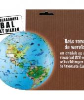 Opblaas wereldbol dieren 30 cm trend