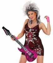 Opblaasbare gitaar roze zebra 105 cm trend