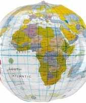 Opblaasbare strandbal wereldbol 27 cm trend