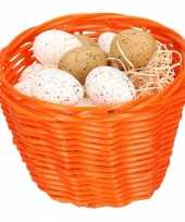 Orange easter basket with plastic quail eggs 14cm trend
