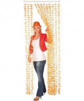 Oranje bloemengordijn 80 x 205 cm trend