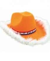 Oranje cowboy hoed met bontrand trend