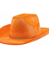 Oranje cowboyhoed met koordje trend