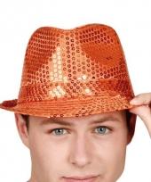 Oranje feesthoed met pailletten trend