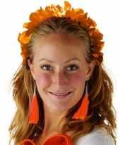 Oranje hawaiikrans verkleed tiara hoofdband voor dames trend