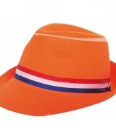 Oranje hoed met lint trend