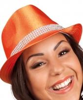 Oranje hoedje met zijde look trend