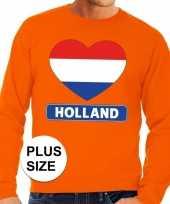Oranje holland hart vlag grote maten sweater trui heren trend