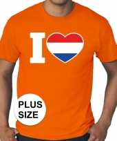 Oranje i love holland grote maten shirt heren trend