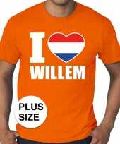 Oranje i love willem grote maten shirt heren trend