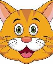 Oranje katten maskers van karton trend