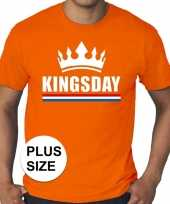Oranje koningsdag kingsday met kroon grote maten shirt heren trend