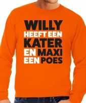 Oranje koningsdag maxi heeft een poes sweater heren trend