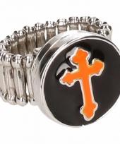 Oranje kruis chunk ring voor volwassenen trend