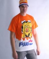 Oranje leeuwen t-shirt dubbel print trend