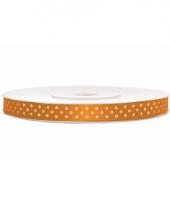 Oranje lint met witte stippen 6 mm trend