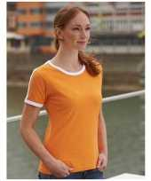 Oranje met wit contrast tshirt voor dames trend