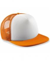 Oranje met witte vintage kinder baseball cap trend