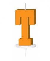 Oranje naam kaarsje letter t trend