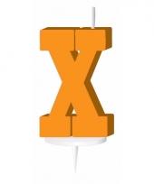 Oranje naam kaarsje letter x trend