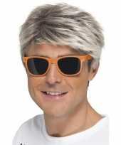 Oranje neon feestbril voor volwassenen trend