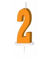 Oranje nummer kaarsje cijfer 2 trend