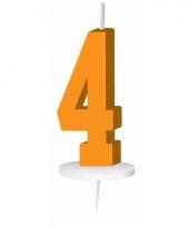 Oranje nummer kaarsje cijfer 4 trend