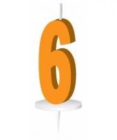 Oranje nummer kaarsje cijfer 6 trend
