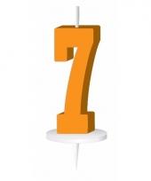 Oranje nummer kaarsje cijfer 7 trend