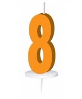 Oranje nummer kaarsje cijfer 8 trend