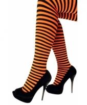 Oranje nylon panty met streep trend