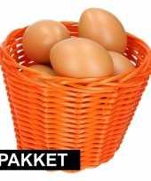 Oranje paasmandje met eieren naturel 14 cm trend