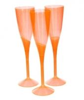 Oranje plastic champagne glazen 5 stuks trend