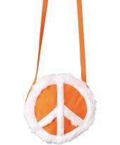 Oranje ronde tas met peace teken trend