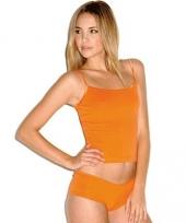Oranje shirt met straps dames trend