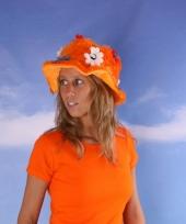 Oranje supporters hoeden met bloemen trend