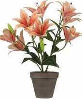 Oranje tigerlily tijgerlelie kunstplant 47 cm in grijze pot trend