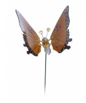 Oranje vlinder op stok 17 cm trend