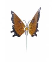 Oranje vlinder op stok 20 cm trend