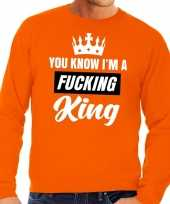 Oranje you know i am a fucking king sweater heren trend