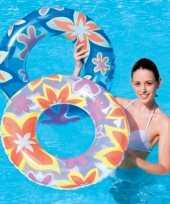 Oranje zwemring met bloemen trend