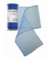Organza tule strook blauw 12 x 300 cm trend