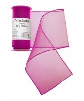 Organza tule strook fuchsia roze 12 x 300 cm trend